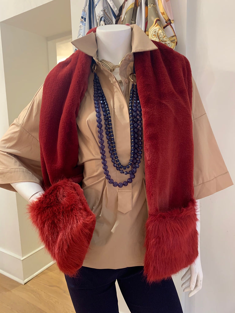 Red Scarf w/Faux Fur Pockets