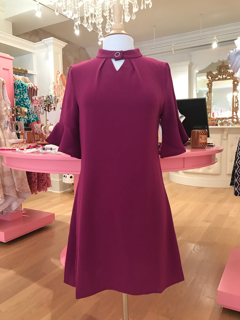 Magenta Bell Sleeve Dress