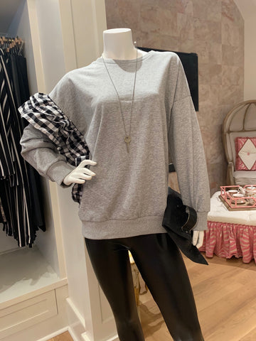 Grey Sweatshirt w/Gingham Ruffle