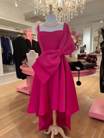 Hot Pink Hi-Low Bow Dress