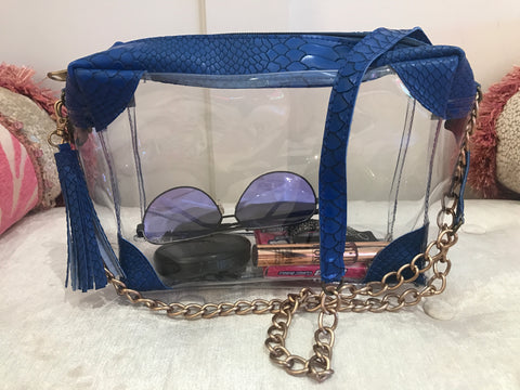 Clear Cross Body Bag w/Royal Blue Python