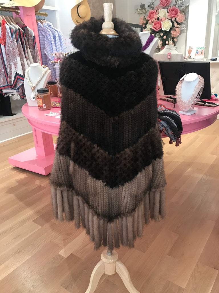 Brown Ombre Mink Poncho