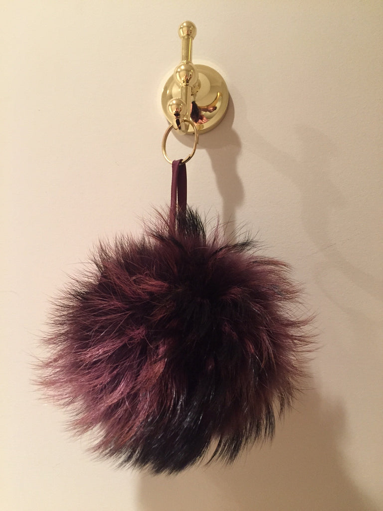 Plum Raccoon Fur Pom Pom