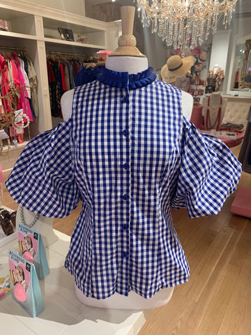 Royal Blue Gingham Cold Shoulder