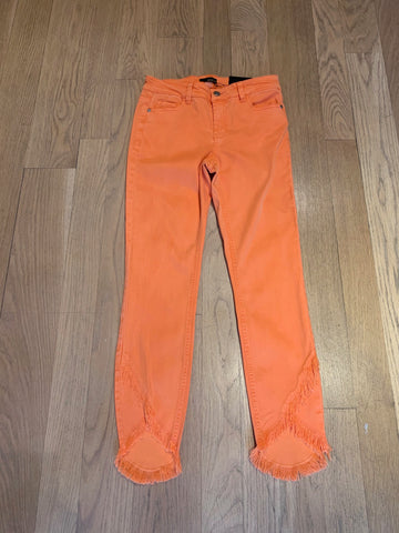Orange Jeans w/Frayed Hemline