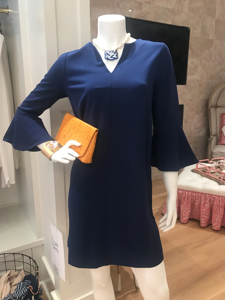 Joan Vass Blue V-Neck Bell Sleeve Dress