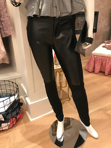 Black & Faux Leather Leggings