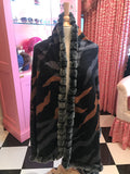 Brown & Grey Animal Print Silk Blend Wrap w/Rabbit Trim