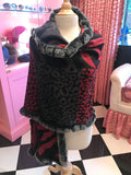 Red & Grey Animal Print Silk Blend Wrap Trimmed in Rabbit