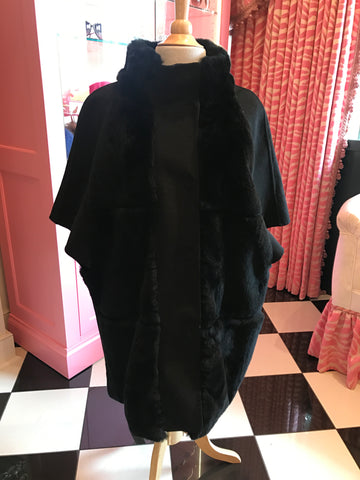 Black Wool Blend Jacket w/Rabbit Trim