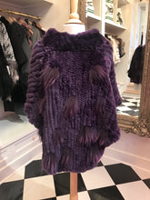 Load image into Gallery viewer, Purple Rabbit Poncho w/Poms