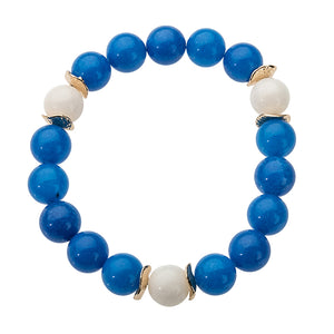 Royal Blue Beaded Stretch Bracelet