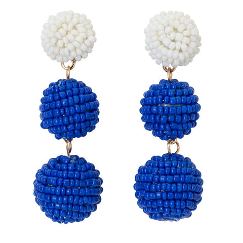 Blue & White Ball Drop Earrings