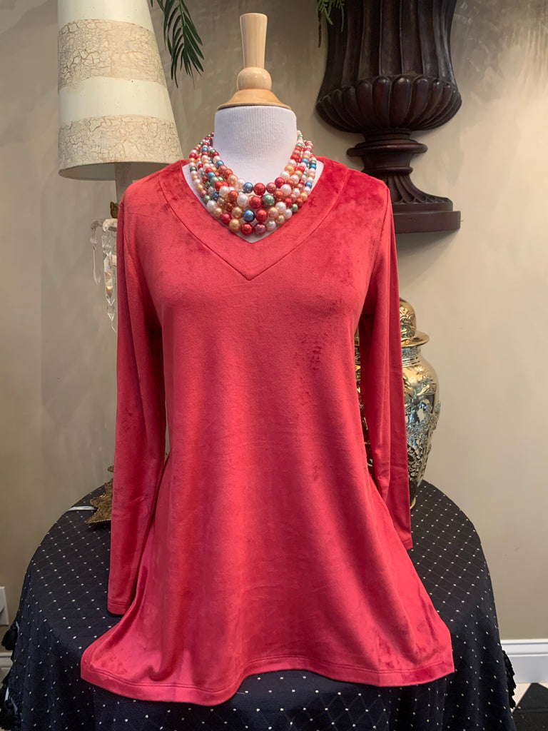 Red Velour Tunic Top