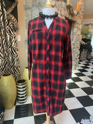Red & Black Plaid Shirt Dress