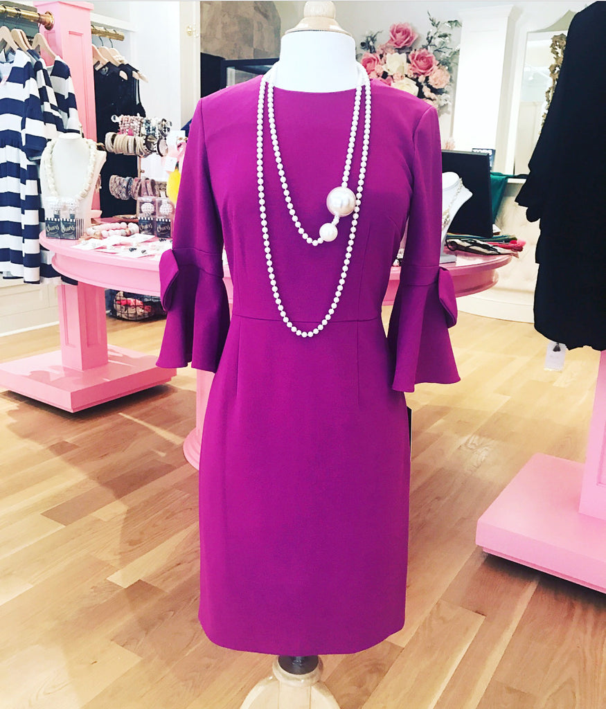 Magenta Dress w/ Bell Sleeve & Bow