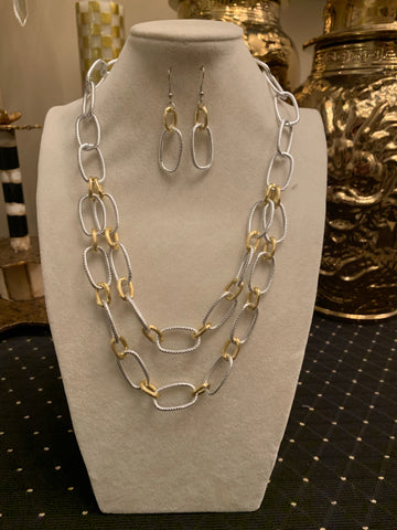 Chain Link Necklace/Earring Set
