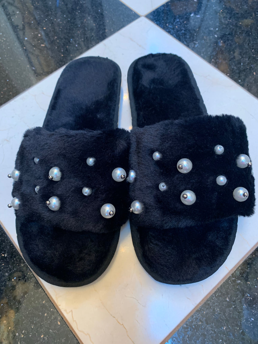 Pearl Faux Fur Slippers