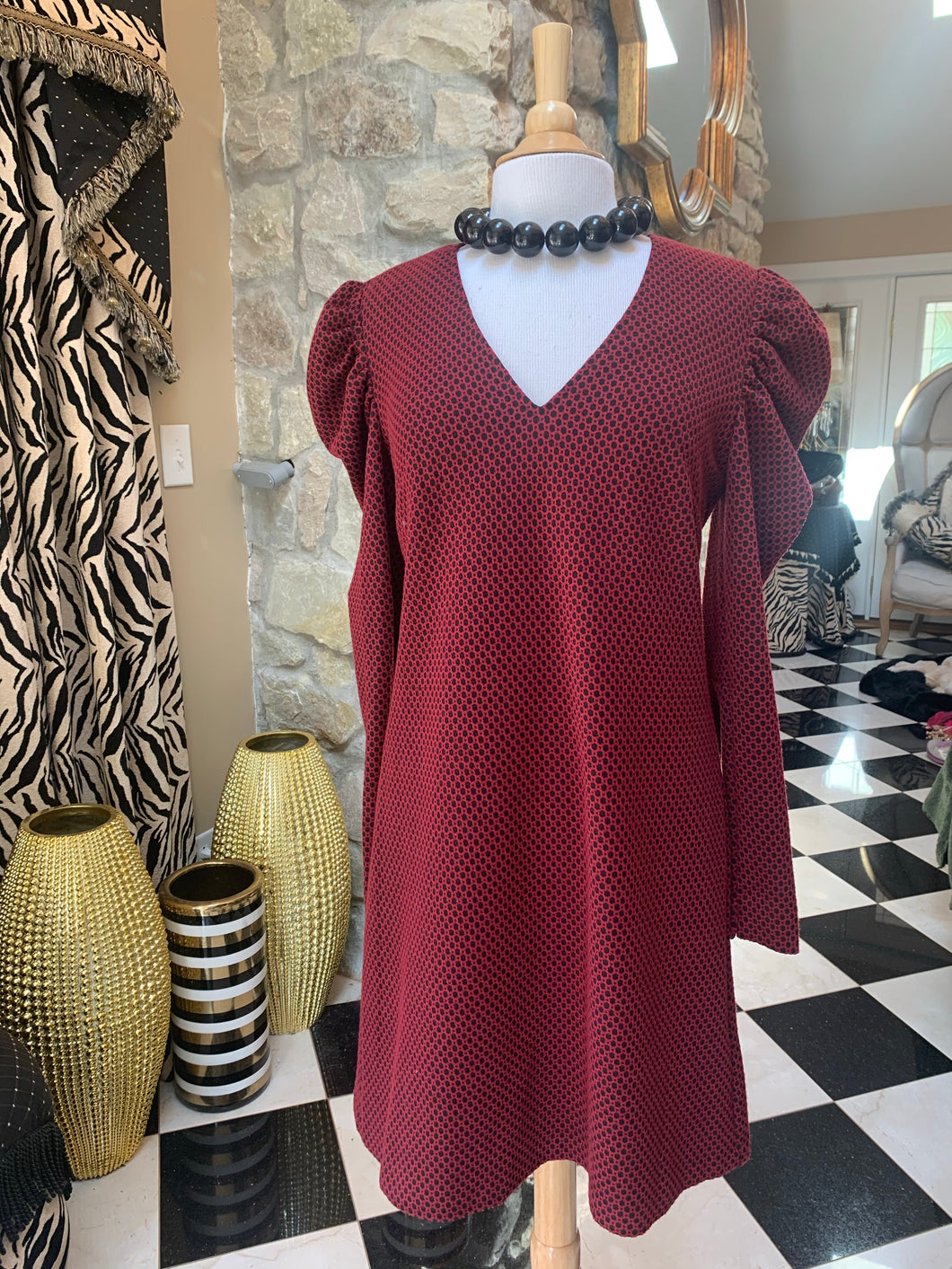 Burgundy & Black Dot Dress