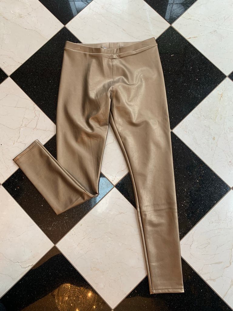 Gold Metallic Faux Leather Legging