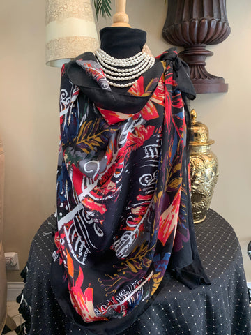 Black Multi Leaf Scarf
