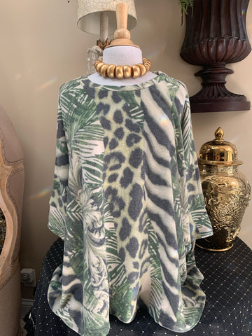 Olive Green Tropical/Animal Print Top