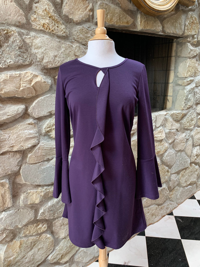 Purple Bell Sleeve Dress