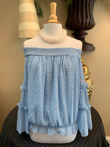 Light Blue Swiss Dot Top