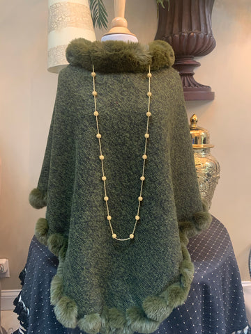 Olive Green Faux Fur Poncho