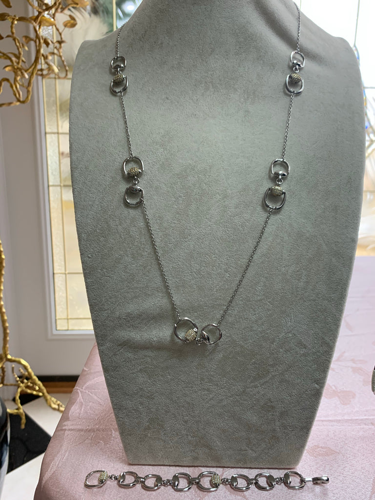 Silver Stirrup Necklace w/Bracelet Set