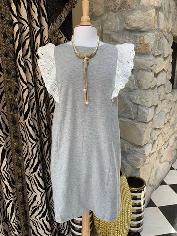 Heather Grey Dress w/Eyelet Sleeve