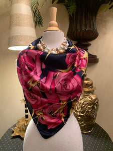 Rose Pattern Silk Scarf
