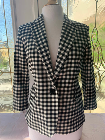 Black & White Gingham Blazer Jacket