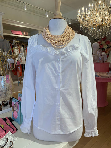 White Button Up Blouse w/Ruffled Detail