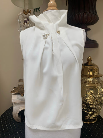 White Sleeveless Top w/Pearl Detail