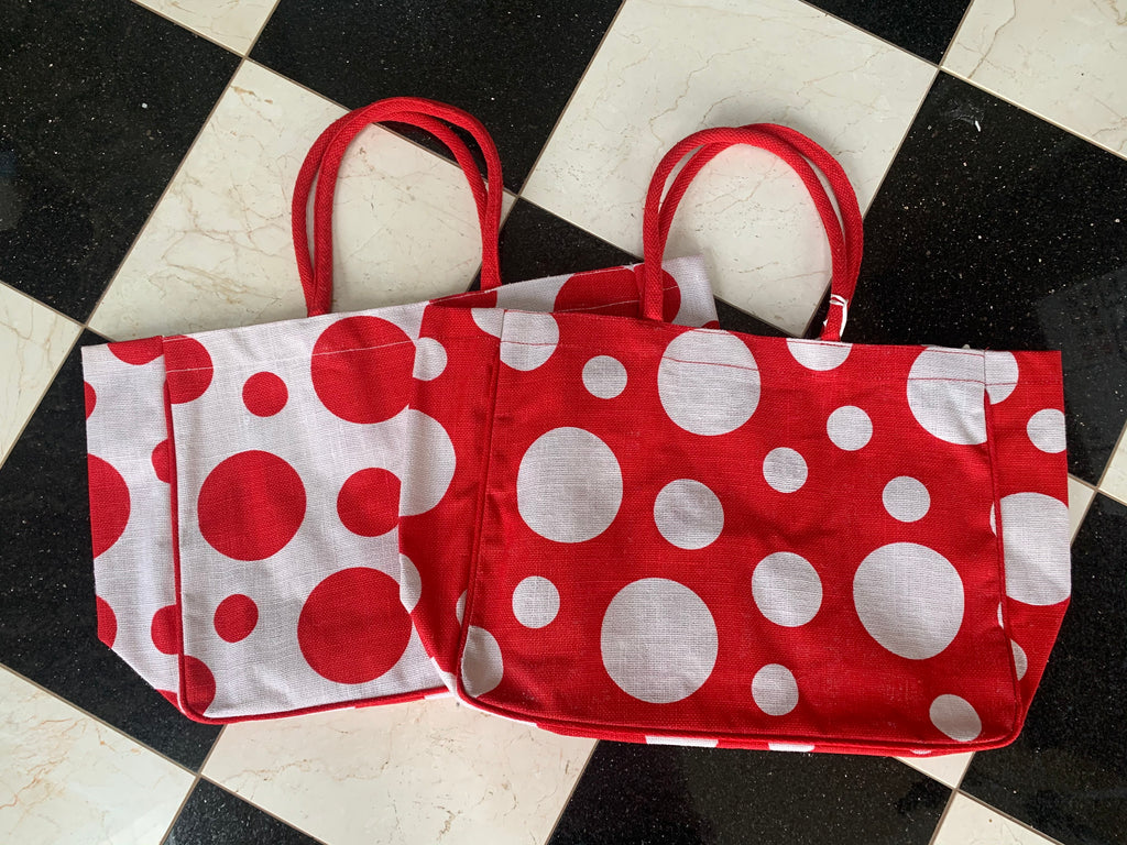 Red Polka Dot Jute Tote