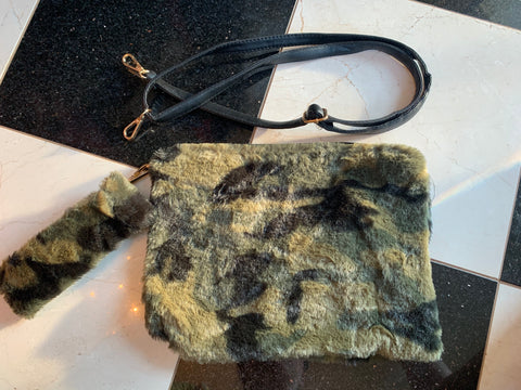 Faux Fur Camo Clutch