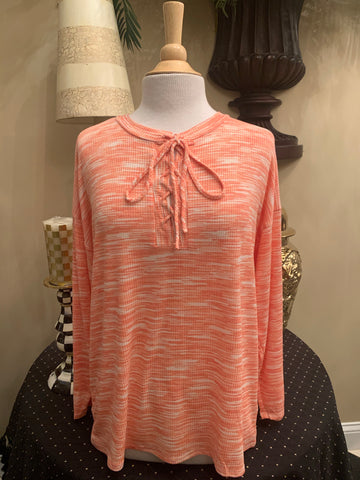 Coral Long Sleeve Lace-Up Top