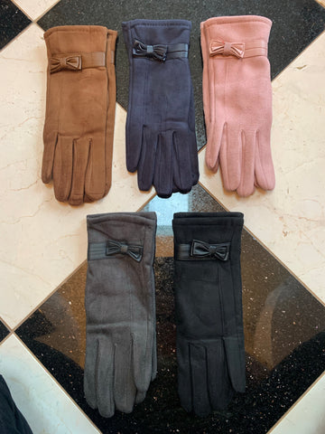 Faux Suede Gloves w/Touchscreen