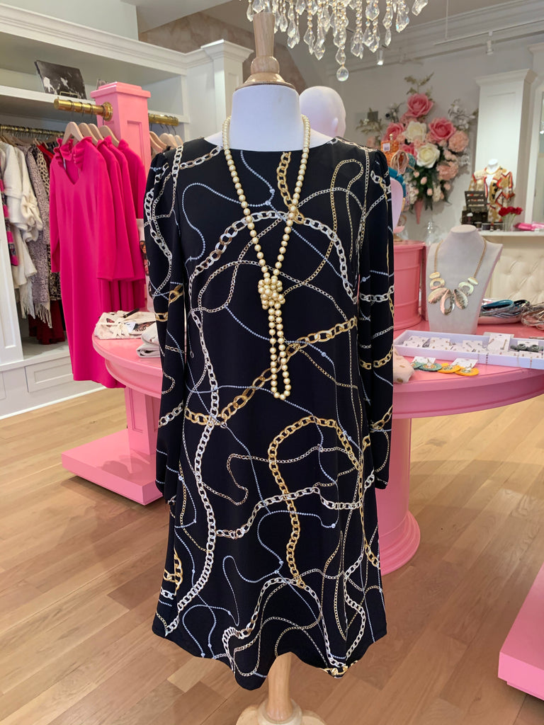 Navy Chain Link Dress