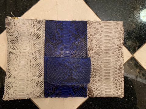 Royal Blue & White Python Clutch