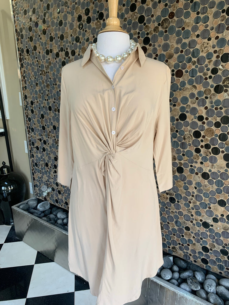 Khaki Knotted Shirt Dress