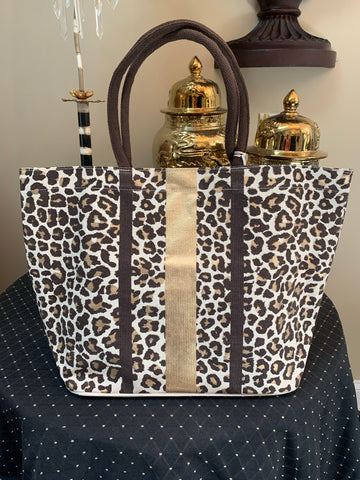 Brown Leopard Canvas Tote Bag