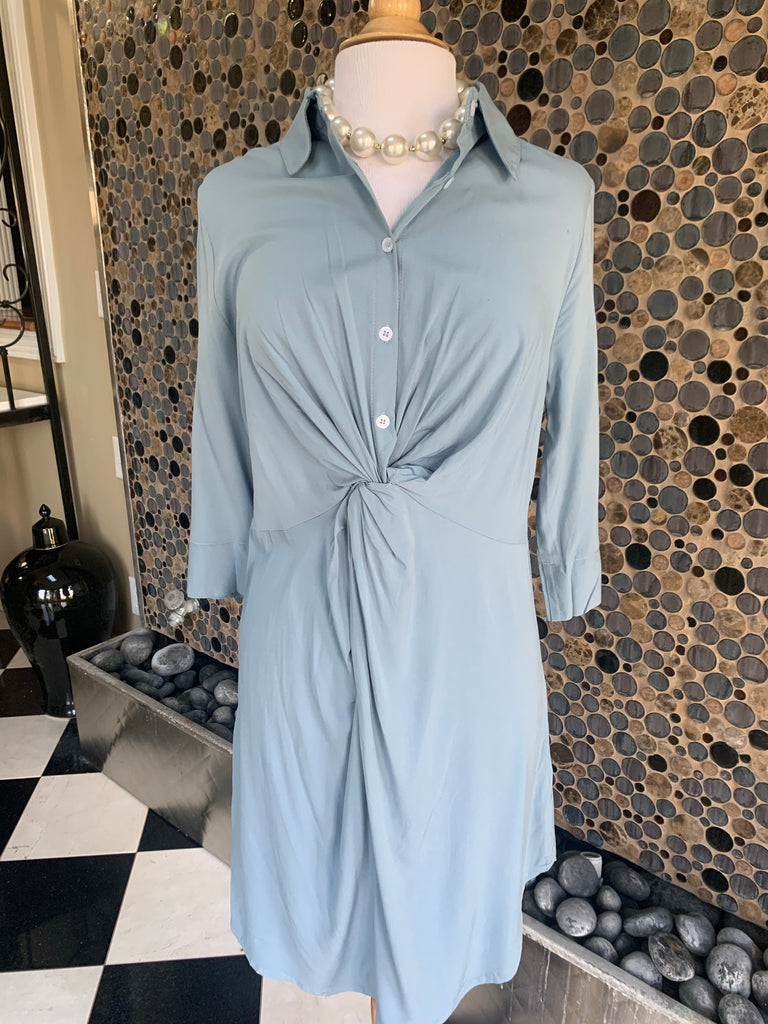 Slate Blue Knotted Shirt Dress