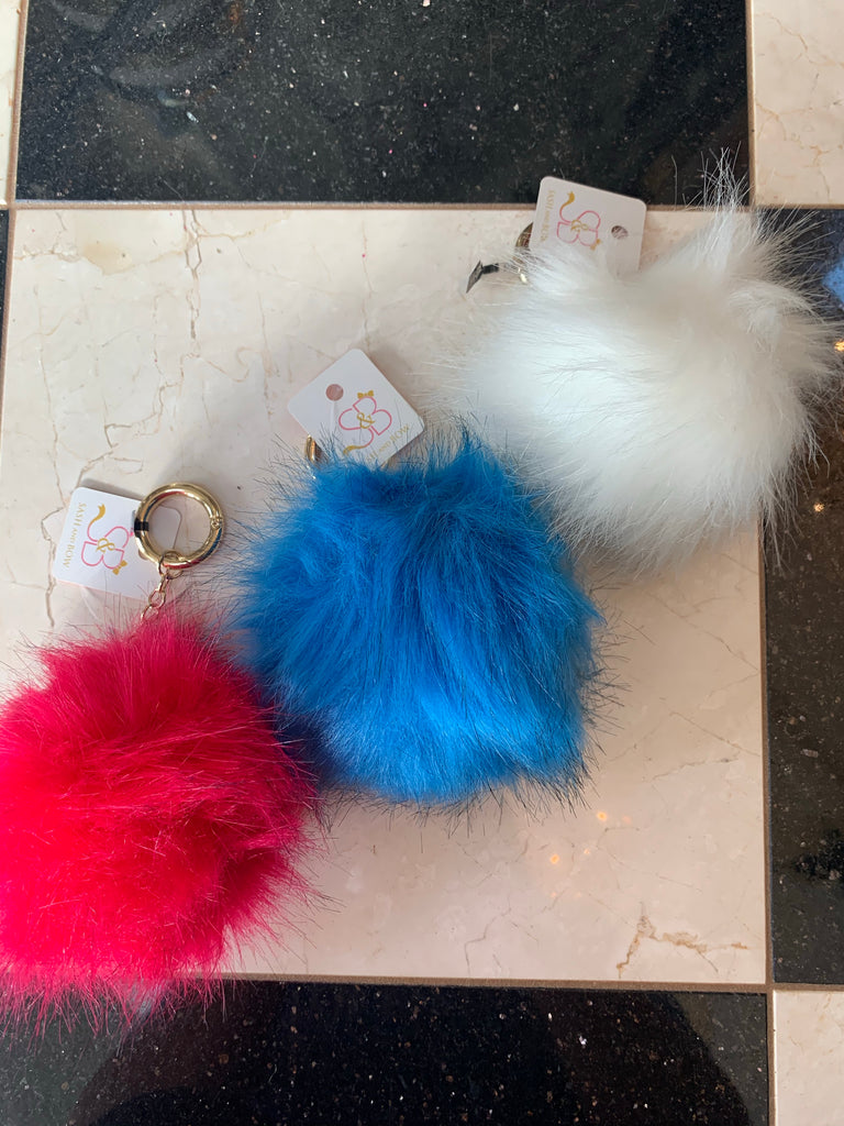 Faux Fur Ball Key Chain