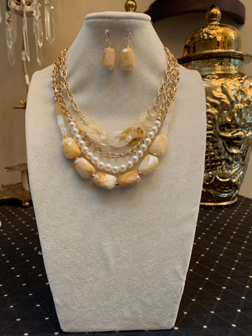 Bead Pearl & Link Necklace/Earring Set