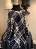 Plaid Pattern Fringe Poncho