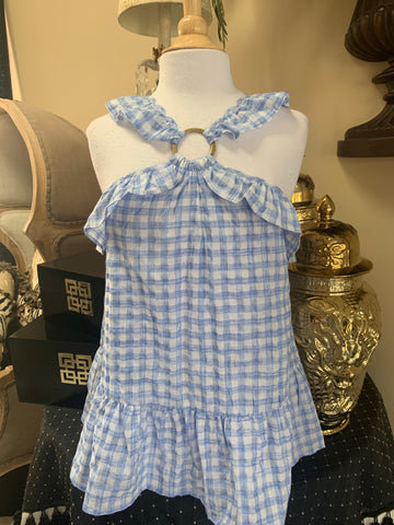 Blue Gingham Halter Top