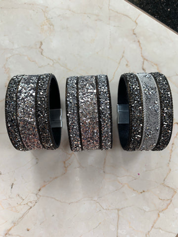 Black & Silver Magnetic Wrap Bracelet
