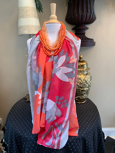 Coral Multicolored Floral Scarf